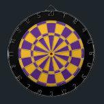 "Dart Board: Gold, Purple, And Black Dartboard<br><div class=""desc"">Gold,  Purple,  And Black Colored Dart Board Game Including 6 Brass Darts</div>"