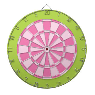 Dart Board: Light Pink And Lime Green Dartboard With Darts