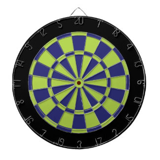 Dart Board: Lime Green, Navy Blue, And Black Dartboard With Darts