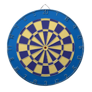 Dart Board: Old Gold, Navy, And Blue Dartboard With Darts