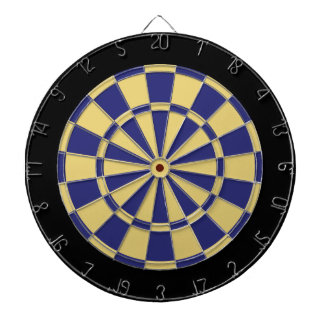 Dart Board: Old Gold, Navy Blue, And Black Dartboard