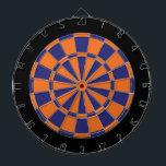 "Dart Board: Orange, Navy, And Black Dartboard<br><div class=""desc"">Orange,  Navy,  And Black Colored Dart Board Game Including 6 Brass Darts</div>"