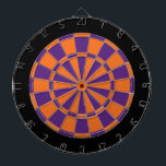 "Dart Board: Orange, Purple, And Black Dartboard<br><div class=""desc"">Orange,  Purple,  And Black Colored Dart Board Game Including 6 Brass Darts</div>"