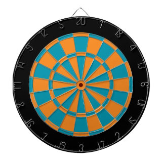 Dart Board: Orange, Teal, And Black Dart Board