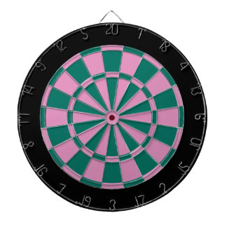 Dart Board: Pink, Green, And Black Dart Board
