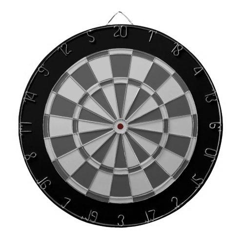 Dart Board: Silver, Charcoal Gray, And Black Dart Board