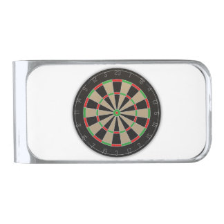 Dart Board Silver Finish Money Clip
