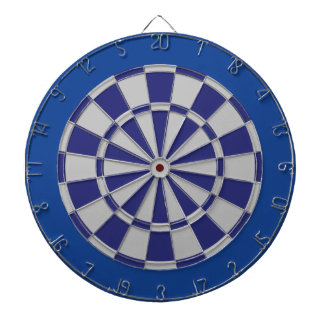 Dart Board: Silver Gray, Navy, And Blue Dartboard With Darts
