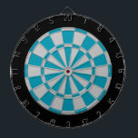"Dart Board: Silver Gray, Teal, And Black Dart Board<br><div class=""desc"">Silver Gray,  Teal,  And Black Colored Dart Board Game Including 6 Brass Darts</div>"