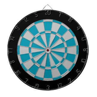 Dart Board: Silver Gray, Teal, And Black Dart Board