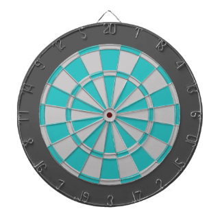 Dart Board: Silver Gray, Turquoise, And Charcoal Dart Board