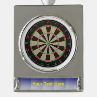 Dart Board Silver Plated Banner Ornament