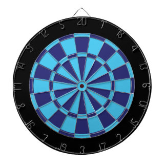 Dart Board: Sky Blue, Navy, And Black Dartboard With Darts