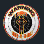 """DART BOARD WARNING - I SHOOT LIKE A GIRL<br><div class=""""desc"""">DART BOARD WARNING - I SHOOT LIKE A GIRL - ONE TO THE HEAD - THREE TO THE PRIVATES - FUN DART BOARD - LOTS OF LAUGHS</div>"""