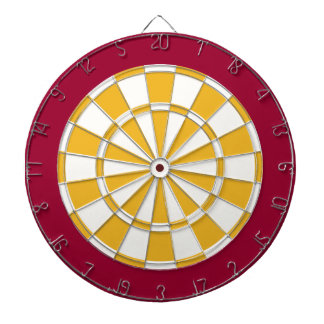 Dart Board: White, Gold, And Maroon Dart Board