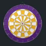 "Dart Board: White, Gold, And Purple Dartboard With Darts<br><div class=""desc"">White,  Gold,  And Purple Colored Dart Board Game Including 6 Brass Darts</div>"