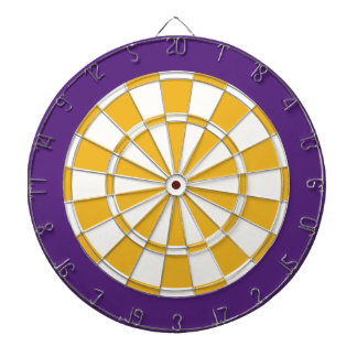 Dart Board: White, Gold, And Purple Dartboard With Darts
