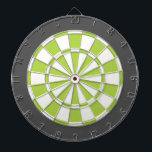 "Dart Board: White, Lime, And Charcoal Gray Dart Board<br><div class=""desc"">White,  Lime,  And Charcoal Gray Colored Dart Board Game Including 6 Brass Darts</div>"