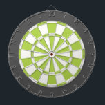 """Dart Board: White, Lime, And Charcoal Gray Dart Board<br><div class=""""desc"""">White,  Lime,  And Charcoal Gray Colored Dart Board Game Including 6 Brass Darts</div>"""