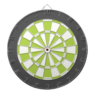 Dart Board: White, Lime, And Charcoal Gray Dart Board