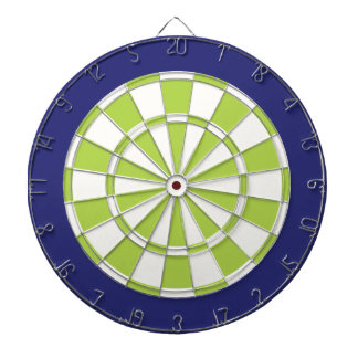 Dart Board: White, Lime, And Navy Dartboard With Darts