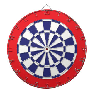 Dart Board: White, Navy Blue, And Red Dart Board