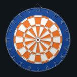 "Dart Board: White, Orange, And Blue Dartboard<br><div class=""desc"">White,  Orange,  And Blue Colored Dart Board Game Including 6 Brass Darts</div>"