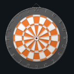 "Dart Board: White, Orange, And Charcoal Gray Dart Board<br><div class=""desc"">White,  Orange,  And Charcoal Gray Colored Dart Board Game Including 6 Brass Darts</div>"