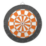 Dart Board: White, Orange, And Charcoal Gray Dart Board<br><div class='desc'>White,  Orange,  And Charcoal Gray Colored Dart Board Game Including 6 Brass Darts</div>