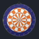 "Dart Board: White, Orange, And Navy Blue Dart Board<br><div class=""desc"">White,  Orange,  And Navy Blue Colored Dart Board Game Including 6 Brass Darts</div>"