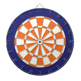 Dart Board: White, Orange, And Navy Blue Dart Board