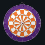 "Dart Board: White, Orange, And Purple Dart Board<br><div class=""desc"">White,  Orange,  And Purple Colored Dart Board Game Including 6 Brass Darts</div>"