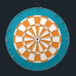 "Dart Board: White, Orange, And Teal Dartboard<br><div class=""desc"">White,  Orange,  And Teal Colored Dart Board Game Including 6 Brass Darts</div>"