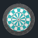 "Dart Board: White, Turquoise, And Charcoal Gray Dartboard<br><div class=""desc"">White,  Turquoise,  And Charcoal Gray Colored Dart Board Game Including 6 Brass Darts</div>"