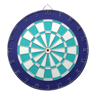 Dart Board: White, Turquoise, And Navy Blue Dart Board