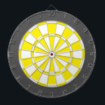 "Dart Board: White, Yellow, And Charcoal Gray Dartboard<br><div class=""desc"">White,  Yellow,  And Charcoal Gray Colored Dart Board Game Including 6 Brass Darts</div>"