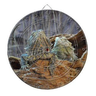 Dart Board with two curious lizards