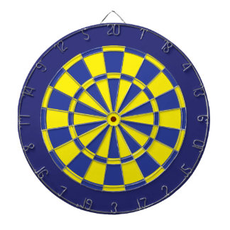 Dart Board: Yellow, Blue, And Navy Dartboard