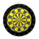Dart Board: Yellow, Charcoal Gray, And Black Dartboard With Darts