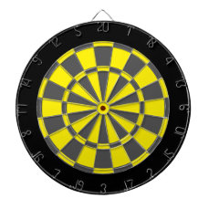 Dart Board: Yellow, Charcoal Gray, And Black Dartboard With Darts