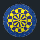 "Dart Board: Yellow, Navy, And Blue Dartboard<br><div class=""desc"">Yellow,  Navy,  And Blue Colored Dart Board Game Including 6 Brass Darts</div>"