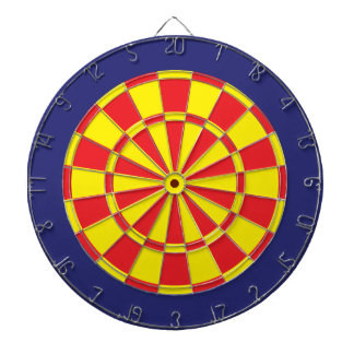 Dart Board: Yellow, Red, And Navy Blue Dart Board