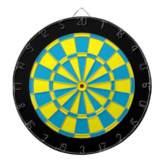Dart Board: Yellow, Sky Blue, And Black Dart Boards