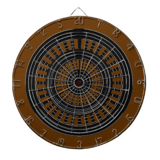 DART Chakra - Black n Silver Rounds on Brown Base Dart Boards