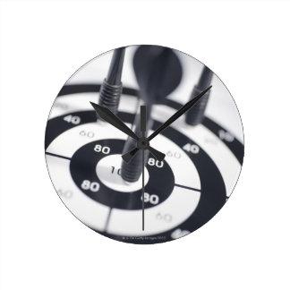 Dart in Bulls Eye Round Wall Clocks