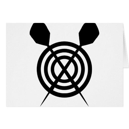dart sport icon crossed greeting card
