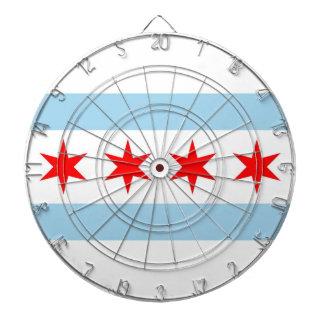 Dartboard con la bandera de Chicago, Illinois, los