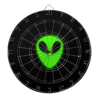 Dartboard extranjero verde que brilla intensamente
