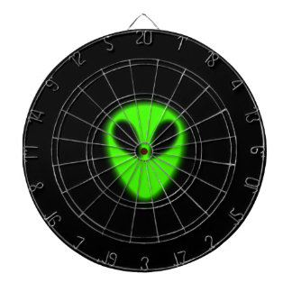 Dartboard extranjero verde que brilla intensamente tabla dardos