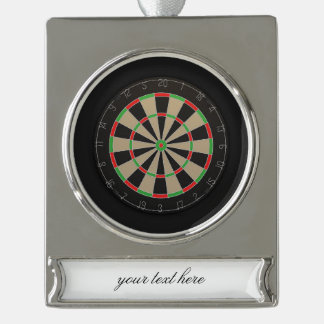 Dartboard Lover Silver Plated Banner Ornament
